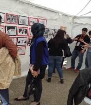 Caricatures in the RLS-tent – Photos: S. Hamdan